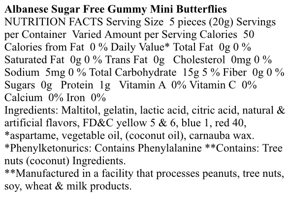 Gummi Mini Butterflies Sugar Free
