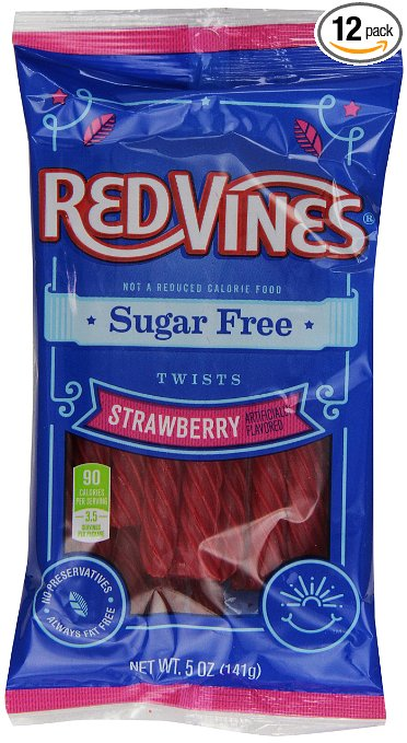 Red Vines Sugar Free Red Strawberry Licorice Twists 5oz bag